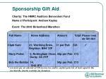 sponsorship gift aid