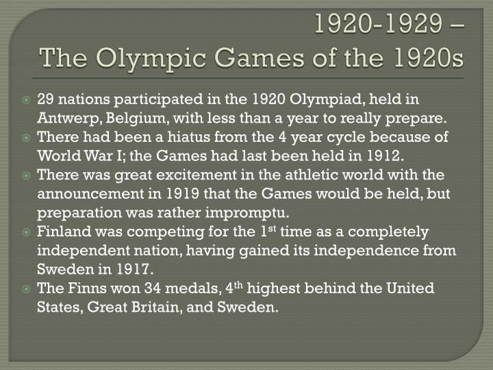 1920 1929 the olympic games of the 1920s n.