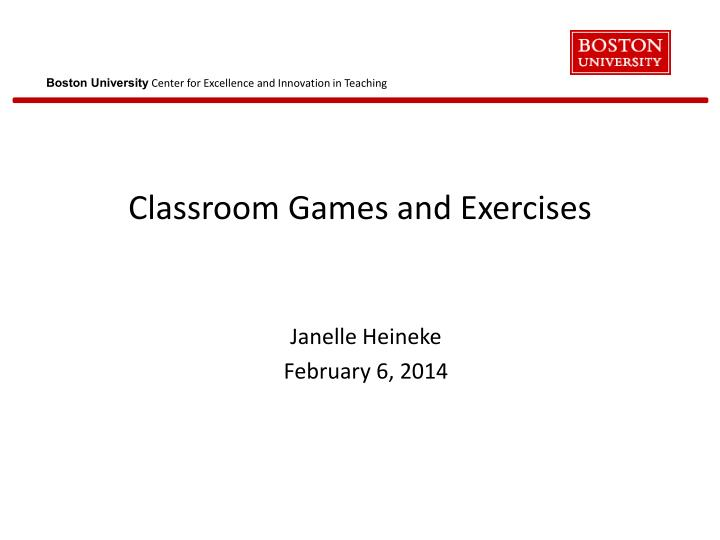 classroom games and exercises n.