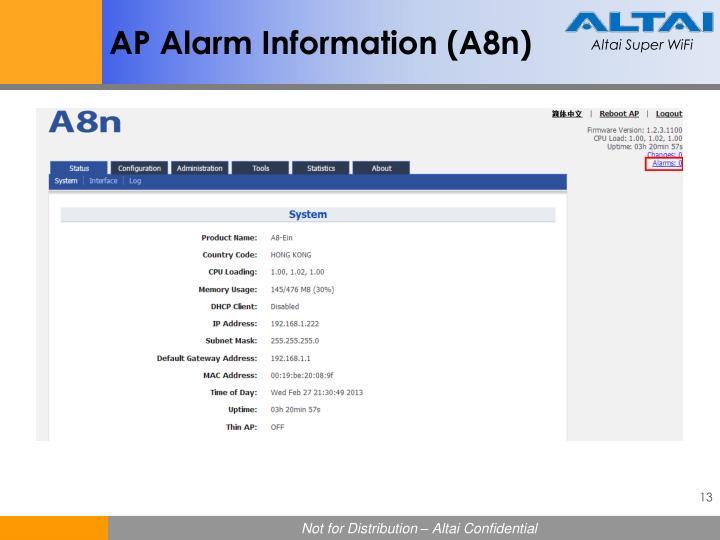 AP Alarm Information (A8n)