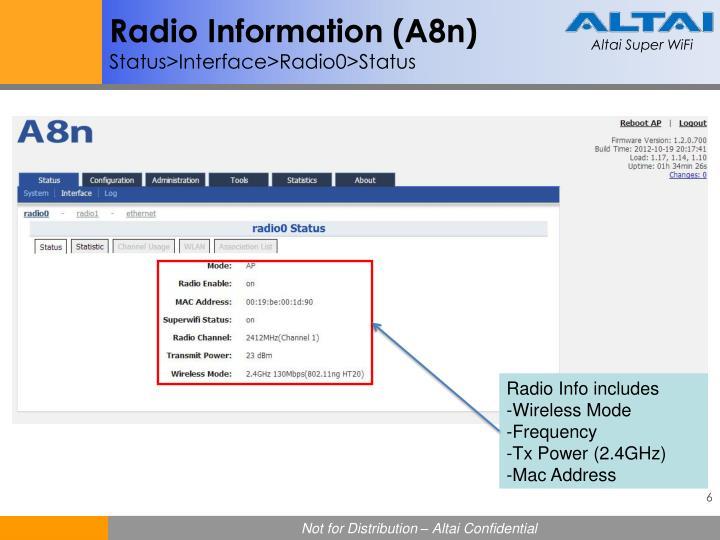 Radio Information (A8n)