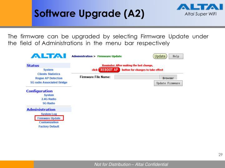 Software Upgrade (A2)