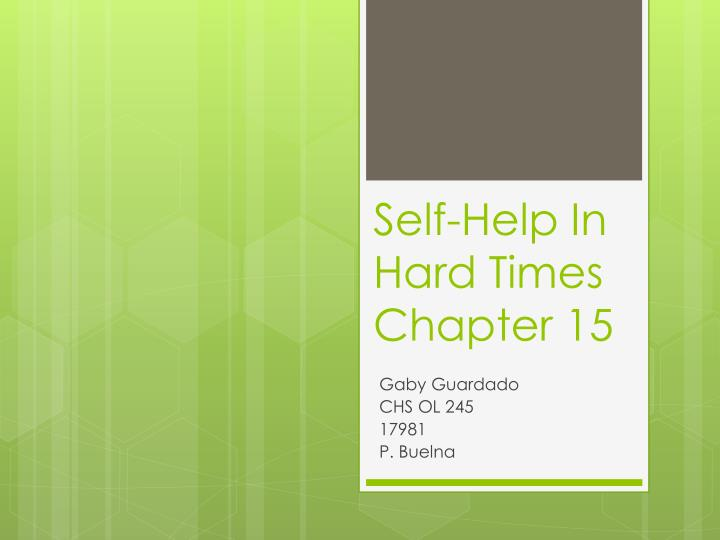 self help in hard times chapter 15 n.