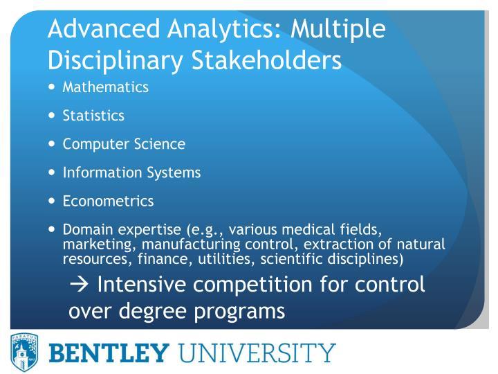 Advanced Analytics: Multiple Disciplinary Stakeholders