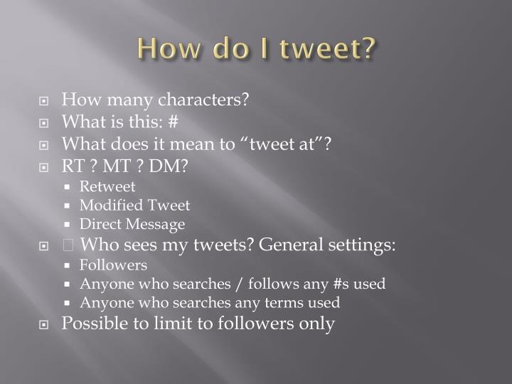 How do I tweet?
