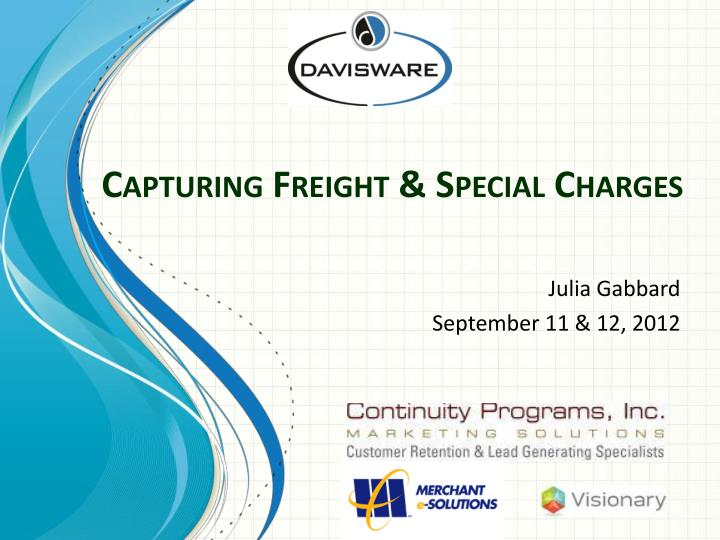 capturing freight special charges n.