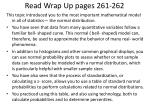 read wrap up pages 261 262