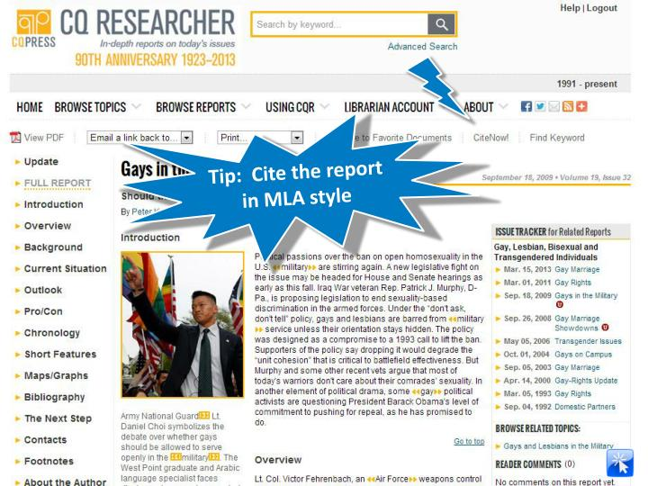 Tip:  Cite the report in MLA style