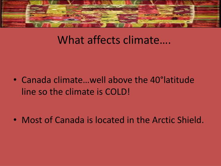 What affects climate….