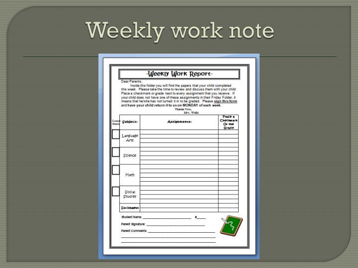 Weekly work note