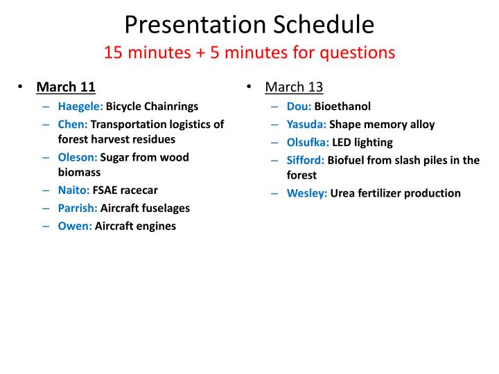 presentation schedule 15 minutes 5 minutes for questions n.