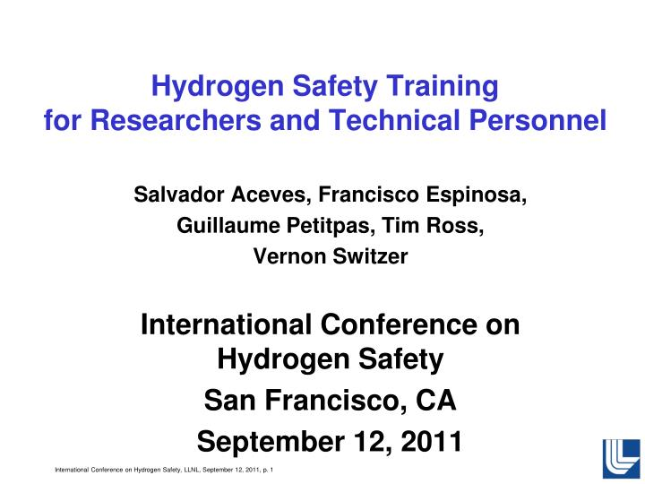 hydrogen safety training for researchers and technical personnel n.