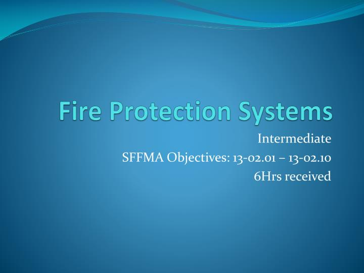 fire protection systems n.