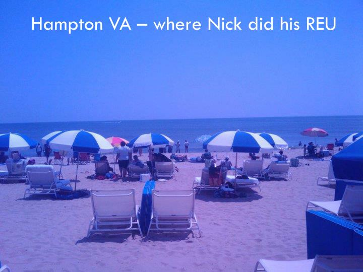 Hampton VA – where Nick did his REU