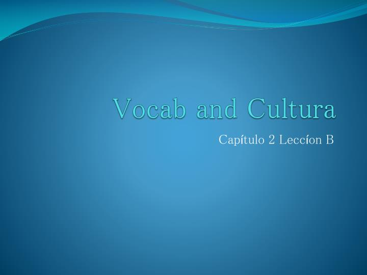 vocab and cultura n.