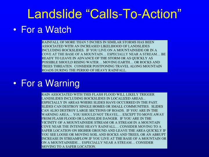 "Landslide ""Calls-To-Action"""