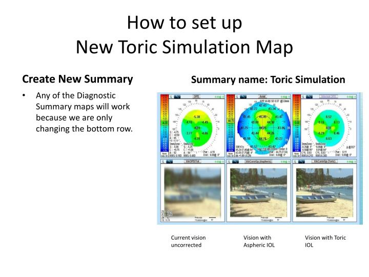how to set up new toric simulation map n.