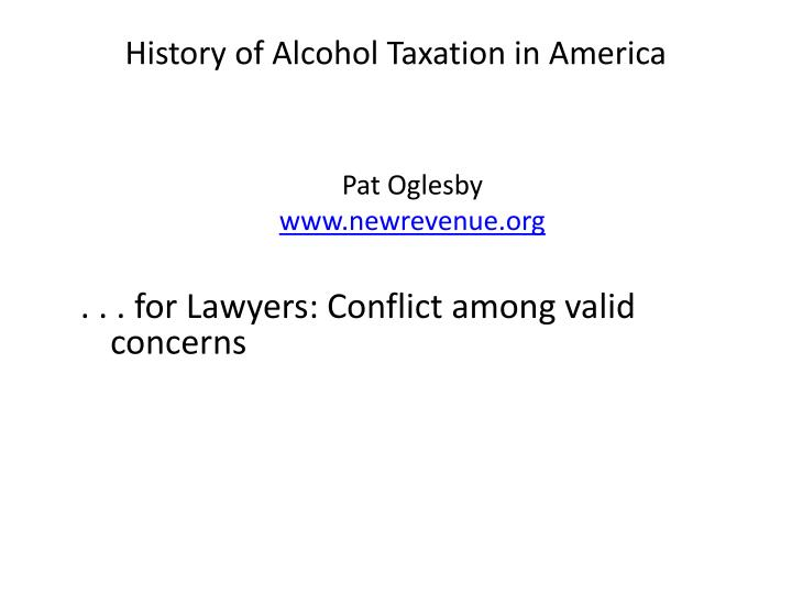 history of alcohol taxation in america n.