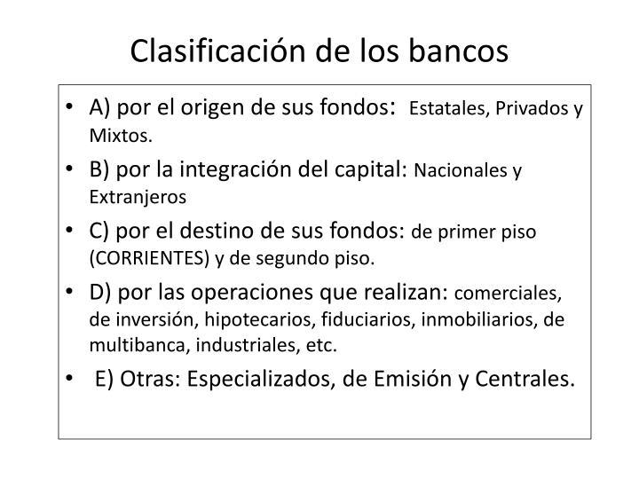 Clasificación de los bancos