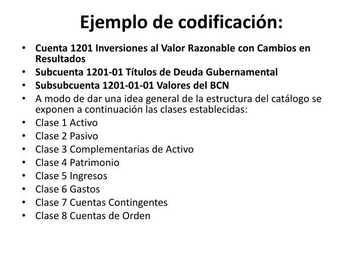 Ejemplo de codificación: