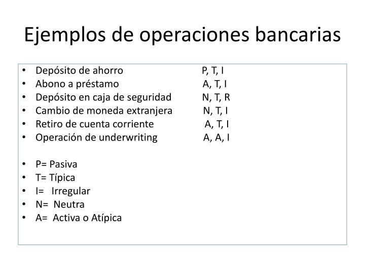 Ejemplos de operaciones bancarias