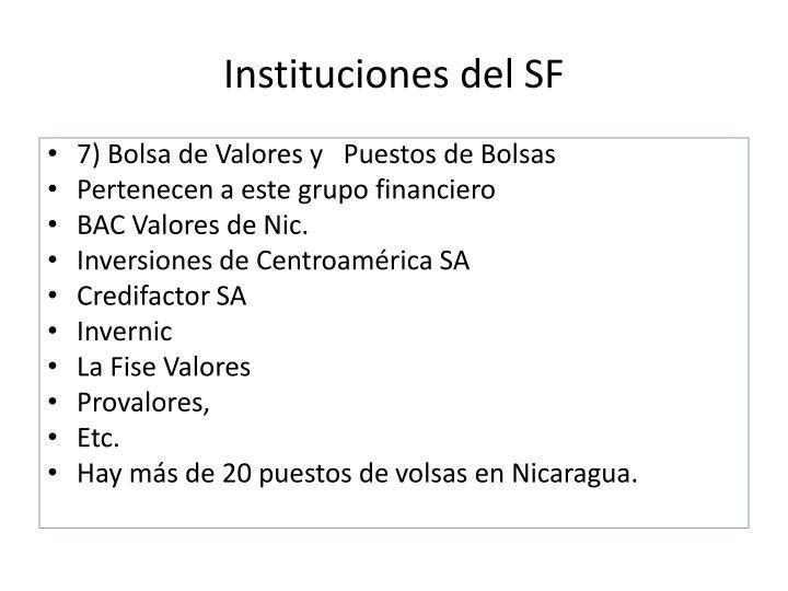 Instituciones del SF