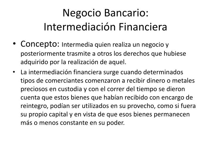 Negocio Bancario: