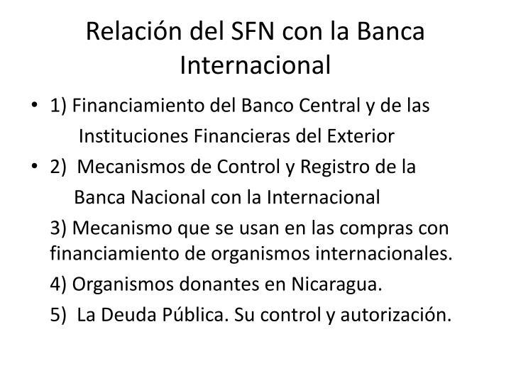 Relación del SFN con la Banca Internacional