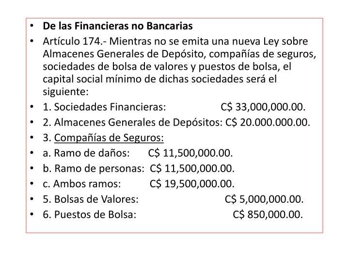 De las Financieras no Bancarias