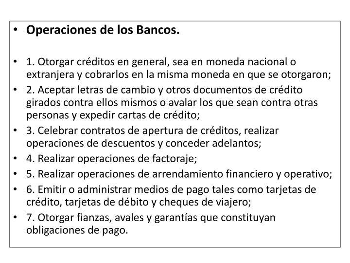 Operaciones de los Bancos.