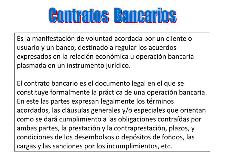 Contratos  Bancarios