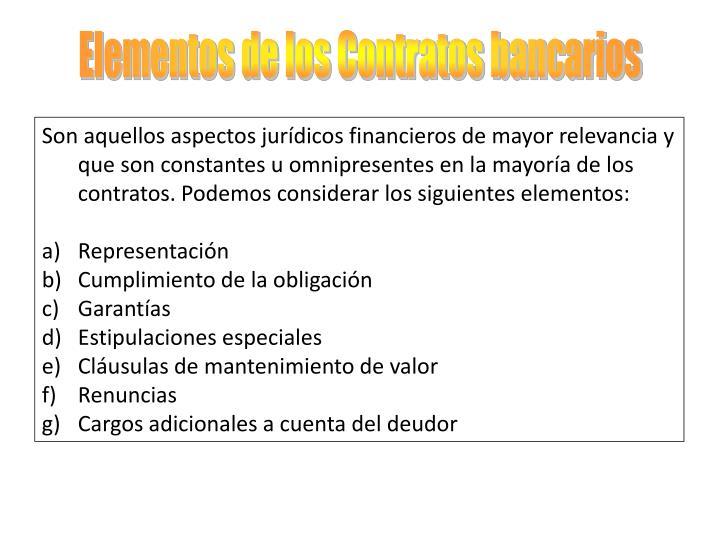 Elementos de los Contratos bancarios