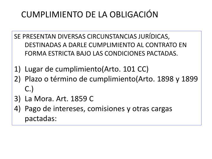 CUMPLIMIENTO DE LA OBLIGACIÓN