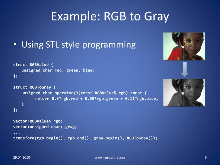 Example: RGB to Gray