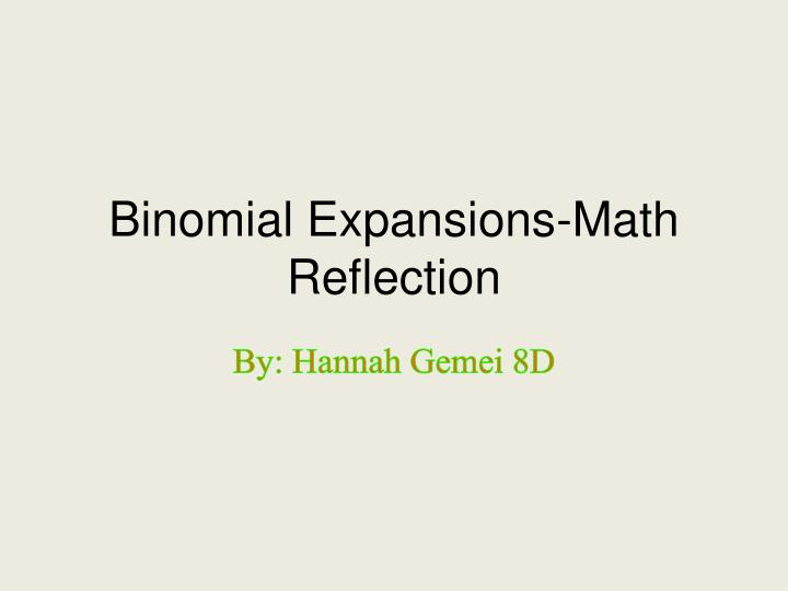 binomial expansions math reflection n.