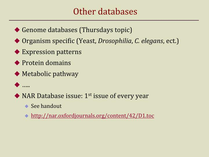 Other databases