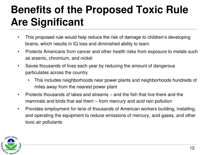 Benefits of the Proposed Toxic Rule Are Significant