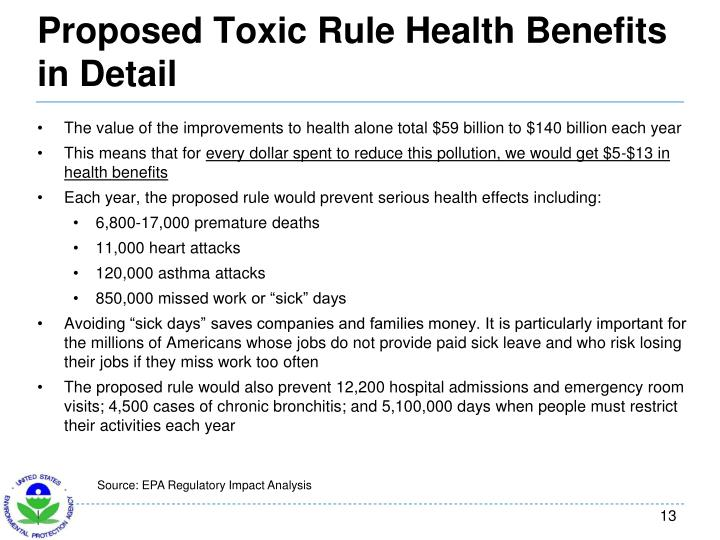 Proposed Toxic Rule Health Benefits in Detail