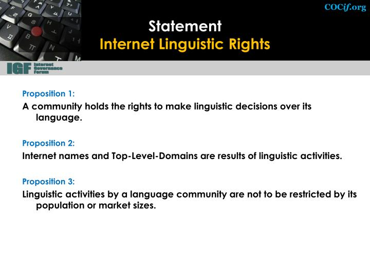 Statement internet linguistic rights
