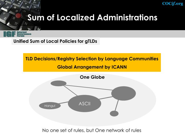Sum of Localized Administrations