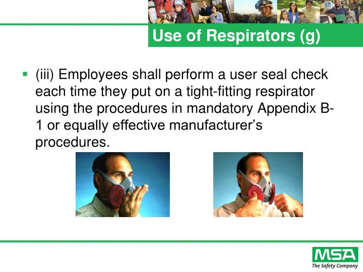 Use of Respirators (g)