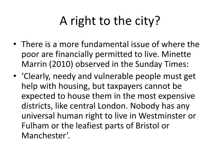 A right to the city?