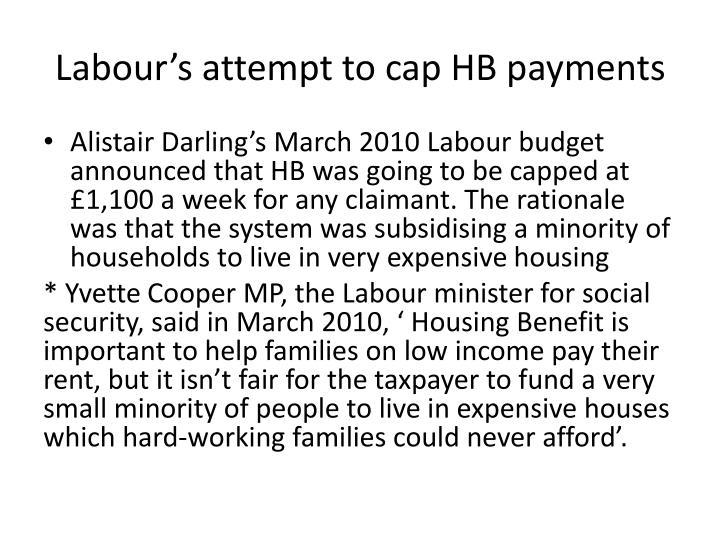 Labour's attempt to cap HB payments