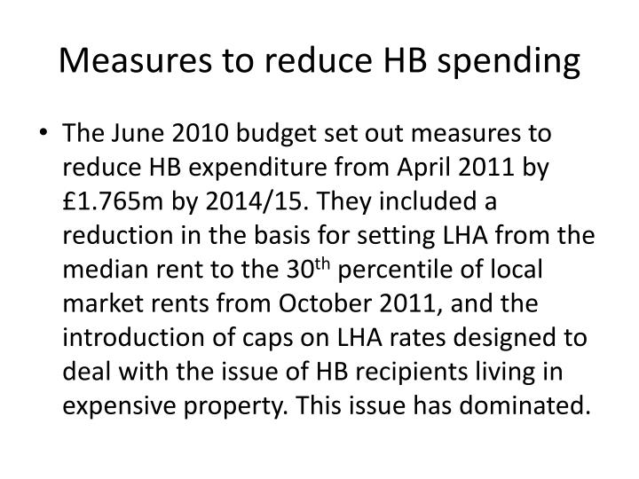 Measures to reduce HB spending