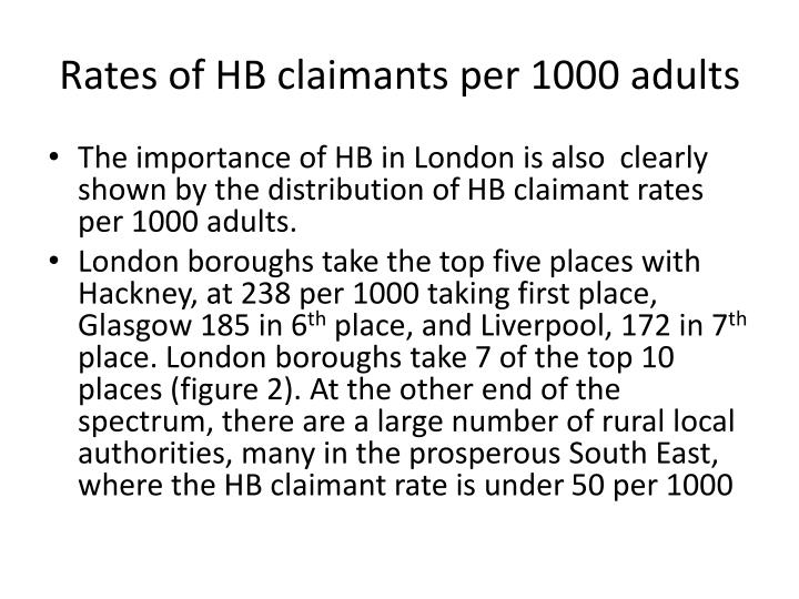 Rates of HB claimants per 1000 adults
