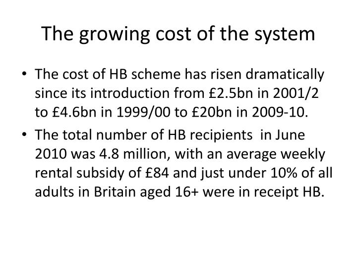 The growing cost of the system