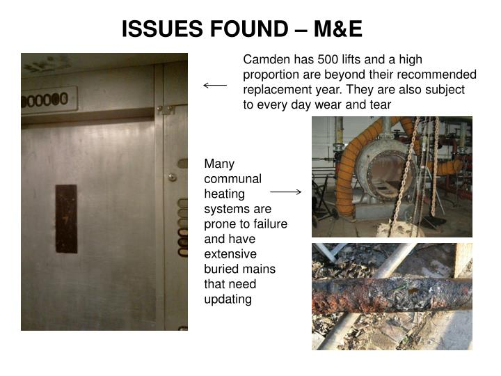 ISSUES FOUND – M&E