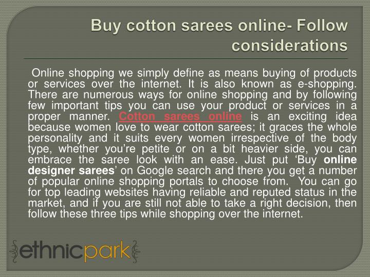 buy cotton sarees online follow considerations n.