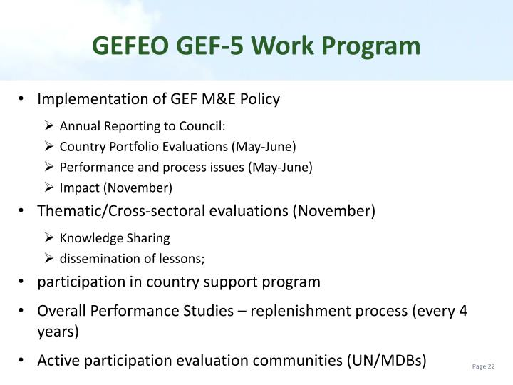 GEFEO GEF-5 Work Program