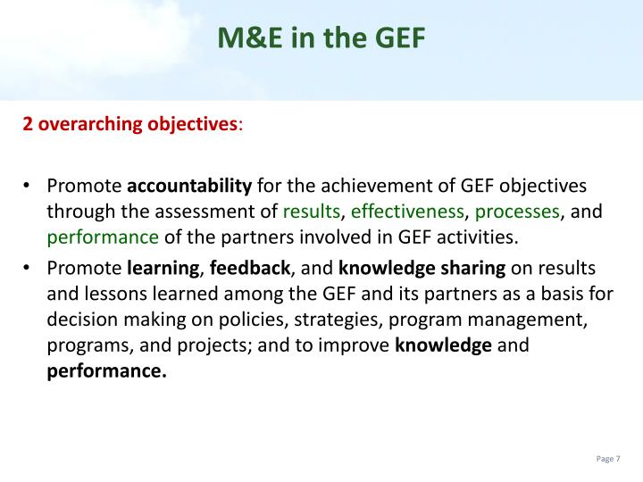 M&E in the GEF